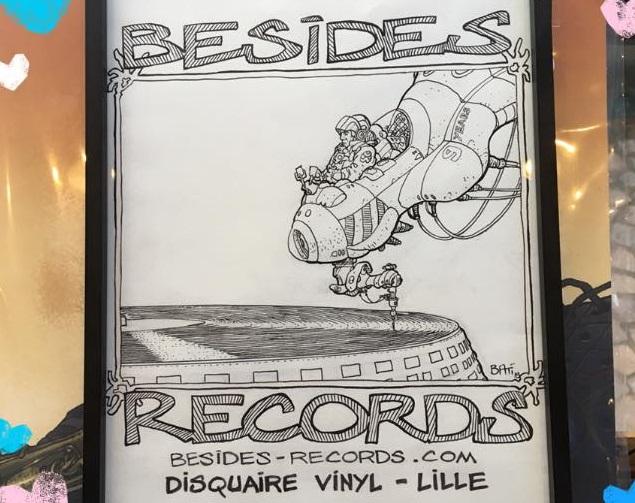Illustration de Marc Bati réalisée à l'occasion de son exposition chez Besides Records en novembre 2019